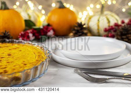 Traditional Dinner Thanksgiving. Fresh Pumpkin Pie.  Copy  Space