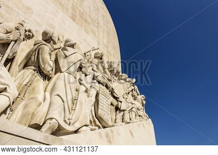 Lisbon, Portugal- 19 May, 2018: Colossal Discovery Monument On A Sunny Day Next To Tagus River At Su