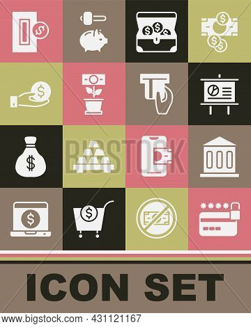 Set Credit Card With Lock, Bank Building, Chalkboard Diagram, Treasure Chest, Money Plant The Pot, H