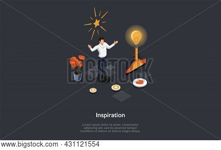 Vector Illustration On Dark Background. Isometric Composition On Inspiration Concept. Cartoon 3d Sty