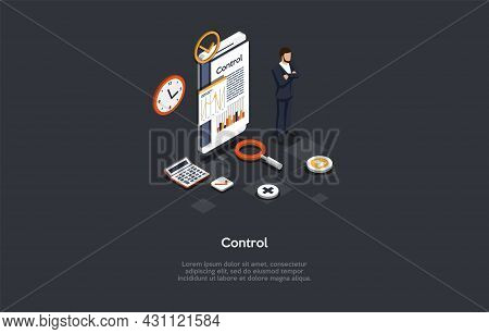 Composition With Character And Text. Isometric Vector Illustration, Cartoon 3d Style. Control Concep