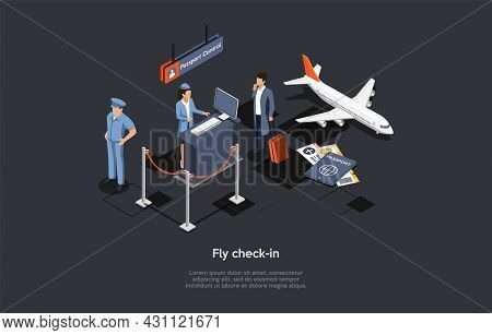 Vector Composition. Isometric Design, Cartoon 3d Style. Fly Check-in. Airport Inside Elements And Ch
