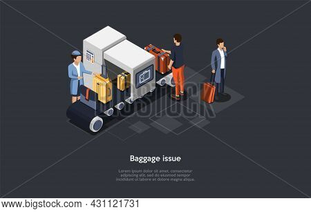Vector Composition. Isometric Design, Cartoon 3d Style. Baggage Issue. Problems With Luggage Suitcas