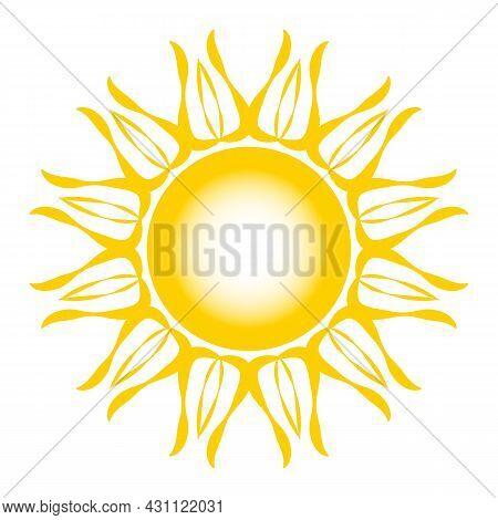 Stylized Sun Logo. Beautiful Design Yellow Sun On Grey. Bright Sun Rays Sunburst Sunbeams As Summer