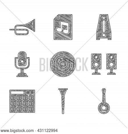 Set Vinyl Disk, Clarinet, Banjo, Stereo Speaker, Drum Machine, Microphone, Metronome With Pendulum A