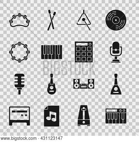 Set Music Synthesizer, Balalaika, Microphone, Triangle, Grand Piano, Tambourine, And Drum Machine Ic