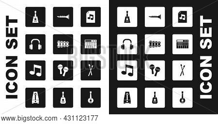 Set Music Book With Note, Xylophone, Headphones, Balalaika, Synthesizer, Clarinet, Drum Sticks And T
