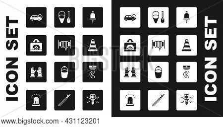 Set Ringing Alarm Bell, Fire Hose Reel, Interior Fireplace, Burning Car, Traffic Cone, Shovel And Bu