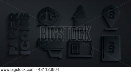 Set Safe, Location Law, Security Camera, Law Book, Judge And Scales Of Justice Icon. Vector