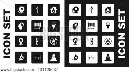 Set Fire In Burning House, Hose Reel, Firefighter, Ringing Alarm Bell, Cone Bucket, Burning Match Wi