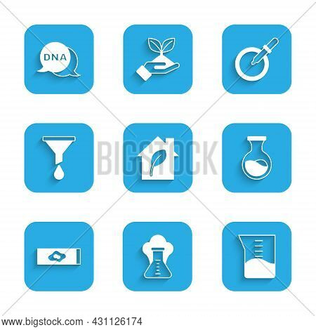 Set Eco Friendly House, Chemical Explosion, Laboratory Glassware Or Beaker, Test Tube And Flask, Blo