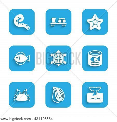Set Turtle, Mussel, Whale Tail In Ocean Wave, Canned Fish, Crab, Fish, Starfish And Octopus Of Tenta