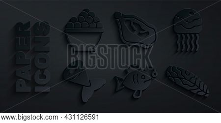 Set Tropical Fish, Jellyfish, Fish Tail, Steak, Mussel And Caviar Icon. Vector