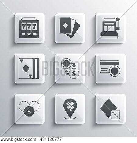 Set Casino Slot Machine With Clover, Game Dice, Credit Card, Chips Exchange On Money, Lottery Ball B