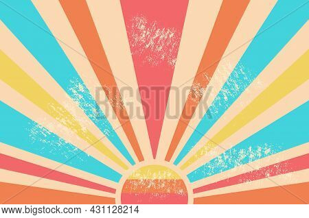 Vintage Sun Retro Banner. Colourful Grunge Sunburst. Multicolored Dawn With Scuffed Texture. Abstrac