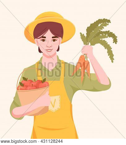 Young Farmer With Vegetables. Man In Panama Hat And Apron Holds Carrot And Bag Of Apples. Natural Ec