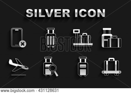 Set Lost Baggage, Suitcase, Conveyor Belt With Suitcase, Plane Landing, Scale, No Cell Phone And Ico