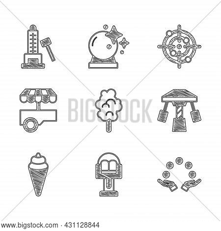 Set Cotton Candy, Attraction Carousel, Juggling Ball, Ice Cream Waffle Cone, Fast Street Food Cart,