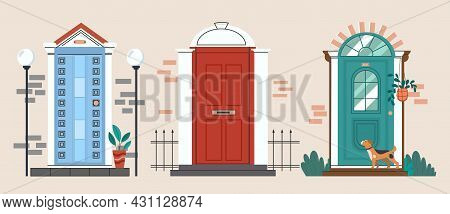 Set Of Vintage Front Doors. Exterior Of House. Retro Apartment Entrance Door With A Dog. Collection