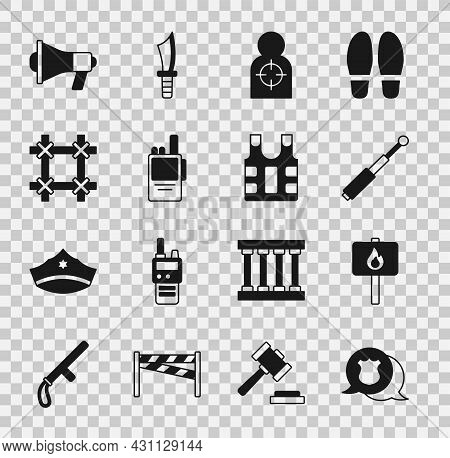 Set Police Badge, Protest, Telescopic Baton, Human Target Sport For Shooting, Walkie Talkie, Prison