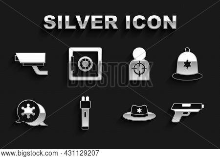 Set Police Electric Shocker, British Police Helmet, Pistol Or Gun, Sheriff Hat With Badge, Hexagram