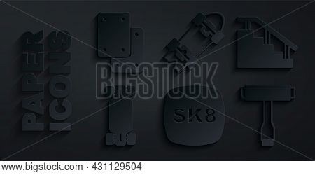 Set Skateboard, Stairs With Rail, Longboard Or Skateboard, T Tool, And Knee Pads Icon. Vector