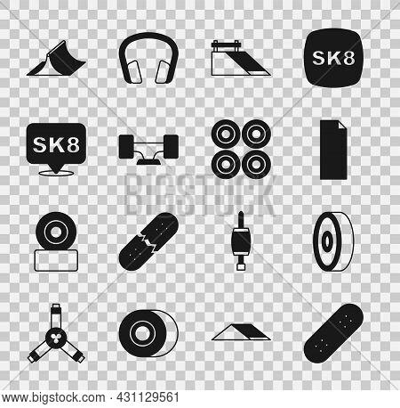 Set Skateboard, Ball Bearing, Grip Tape On Skateboard, Park, Wheel, And Icon. Vector
