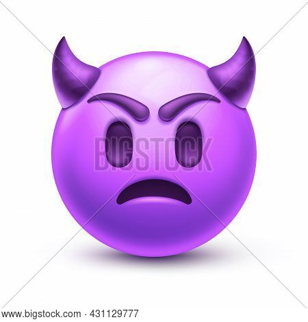 Angry Emoticon With Horns, Frown Purple Face 3d Stylized Vector Icon