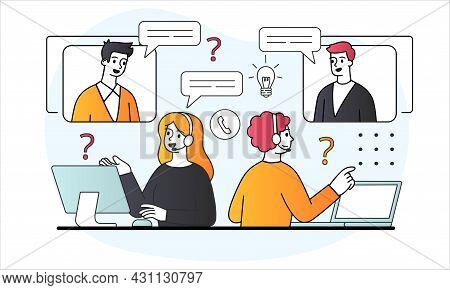 Call Center Concept. Hotline Operators In Headphones Help To Solve User. Telemarketing, Consultation