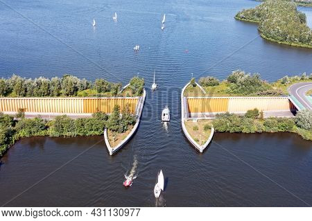 Aerial from the aquaduct at the Veluwemeer near Harderwijk in the Netherlands