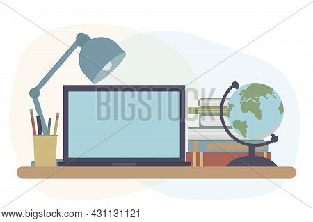 Concept Of Distance Education, Workplace Of Student Or Pupil. Laptop And Books And Globe, Lump, Pen