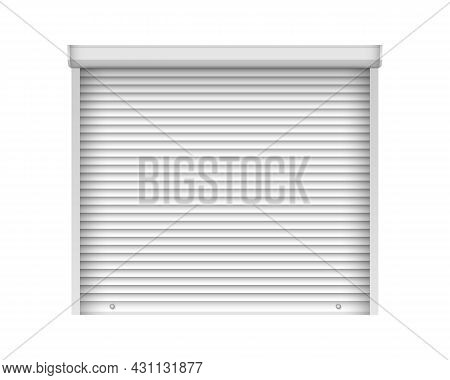 Realistic White Shutter Door For Metal Gate. Metal Industrial Rolling Shutter Mockup Template. Close