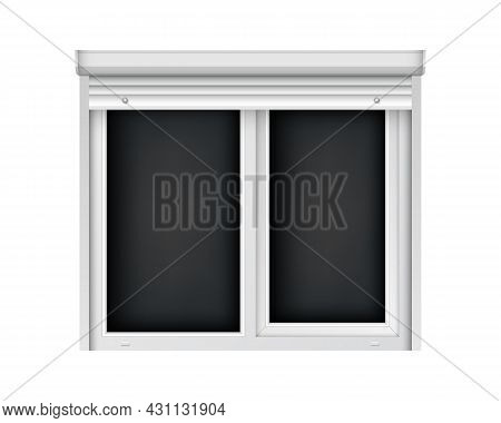 Realistic Double Plastic Window With Open Blind. White Roller Shutter With Plastic Window. Large Ope