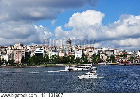Panoramic View Of The Bosphorus. View Of The Strait, Ships, Galata Tower And Houses. 09 July 2021, I