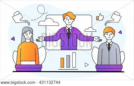 Professional Growth Of Employees Concept. Boss Trains Employees And Monitors Their Career Developmen