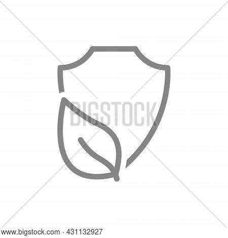 Protective Shield With Leaf Line Icon. Safe Nature, Protection Of Nature