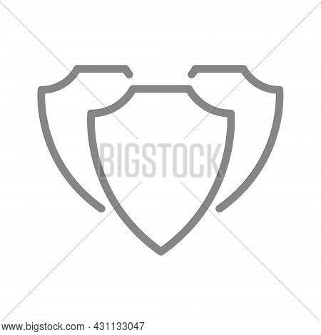 Protective Shields, Defender Line Icon. Protection, Safety