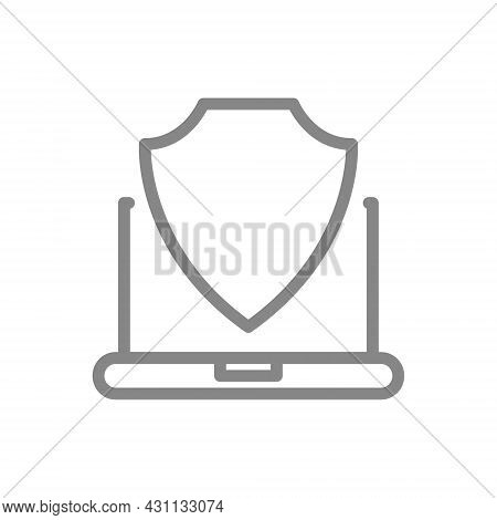 Protective Shield And Laptop Line Icon. Antivirus, Secure Computer, File Protection