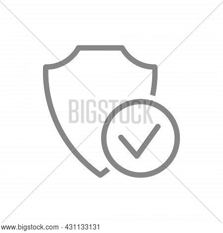 Protective Shield With Check Mark Line Icon. Satisfaction, Positive Assessment Of The Protection Sys