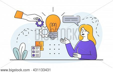 Introduction Of New Ideas Concept. Innovation Integration Work. Woman Thinks About How Use Idea In B