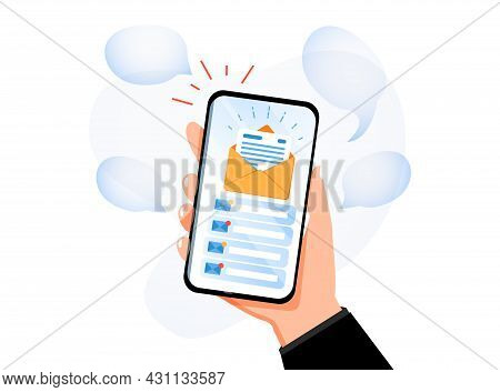 Hand Holding Mobile Smart Phone With Mail App. Mail Service Concept. Email Search, Open New Mail Env