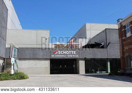 Aalst, Belgium, 25 August 2021: Exterior View Of The 'schotte' Sports Complex In Erembodegem, Aalst.