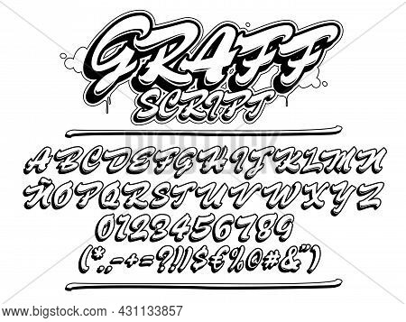 Graffiti Script Font. Uppercase  Lettering Typeface. Vector Alphabet With Numbers And Glyphs. Isolat