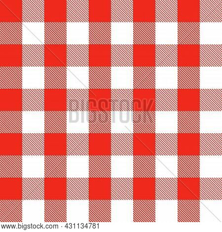 Red And White Scotland Textile Seamless Pattern. Fabric Texture Check Tartan Plaid. Abstract Geometr