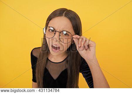 Teenager Has Poor Eyesight. Need To Improve Eyesight. Childhood Health. Oh No. Teen Girl Wear Glasse
