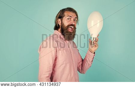 Man Just Inspired. Economy Of Electricity. Bright Minded Hipster. Creative Inspiration. Light Your W