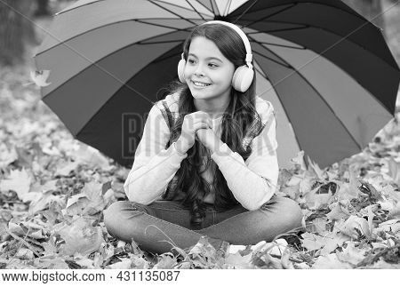 Feeling Protected. Autumn Kid Under Colorful Umbrella. Feel The Inspiration. Happy Childhood. Back T