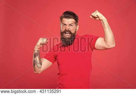 Who Is Cool. Strong Hipster Muscular Arms Red Background. Physical Strength. Strong Biceps And Trice