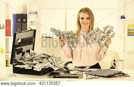 Business Challenge. Financial Achievement. Financial Expert. Girl With Briefcase Full Of Cash. Money