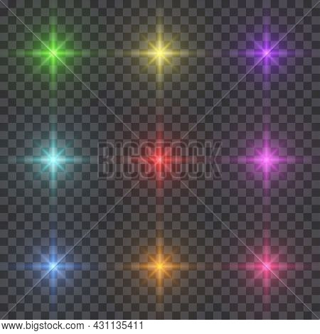 Set Of Starburst Lighting Isolated On Transparent Background. Glow Colorful Light Effects. Glowing L